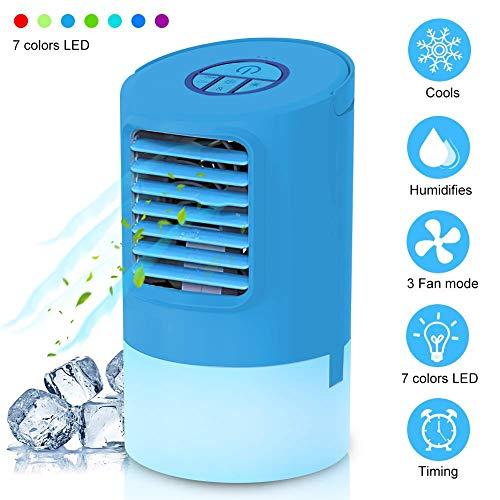 🥇 Mini Climatizador Portatil 4 en1 Ventilador Humidificador Mini Aire Acondicionado Frio Silencioso Enfriador de Aire Evaporativo Personal Air Cooler 7 Colores Luz Ajustable con Temporizador para casa