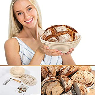 Banneton Bread Proofing Basket 9 inch round,sourdough banneton basket,basket+Bread Lame +Dough Scraper+ Linen Liner Cloth, bread making tools and supplies for Home & Professional Bakers.