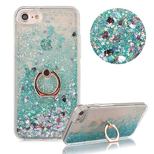 MOIKY Hard Plastic Case for iPhone SE,Glitter Liquid Case for iPhone 5/5S, Luxury Green Love Hearts Diamond Quicksand Glitter Sequins with 360 Degrees Stand Ring Holder Slim Plastic Case