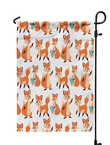 Shorping Welcome Garden Flag, 12x18Inch Fox Character Doing Different Activities Funny Happy Nature Red Foxy Cute Adorable Tail Wildlife for Holiday and Seasonal Double-Sided Printing Yards Flags ()