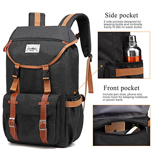 Travel Backpack CoolBELL 17.3 Inches Laptop Backpack Leisure Outdoor Rucksack Hiking Knapsack School Daypack Multi-functional Business Bag For School/College/Men/Women (38L, Black) by CoolBELL (Image #2)