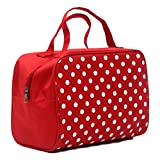 Travel Bag Printed Multifunction Portable Toiletry Bag Cosmetic Makeup Pouch Case Organizer for Travel (Red)