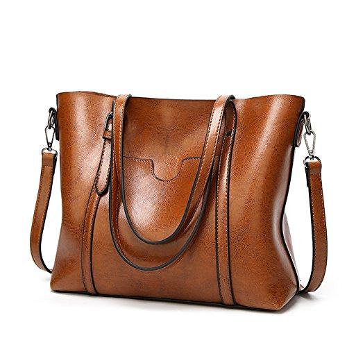 - Pahajim women leather top handle handbags satchel Purse shoulder bag Tote Bag (brown)
