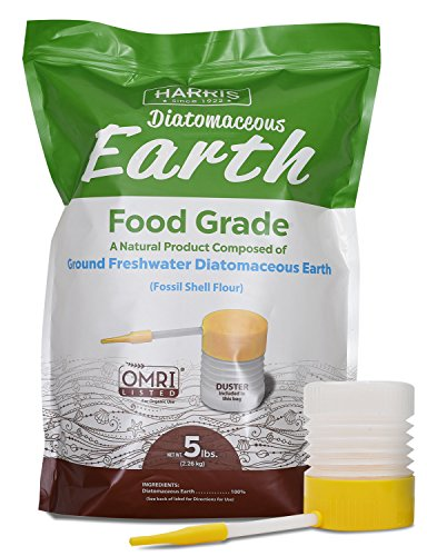 HARRIS Diatomaceous Earth Food Grade, 5lb with Powder Duster Included in The Bag (Best Way To Use Diatomaceous Earth For Bed Bugs)