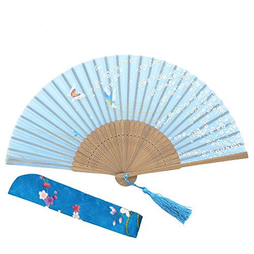 "OMyTea 8.27""(21cm) Women Hand Held Silk Folding Fans with Bamboo Frame - With a Fabric Sleeve for Protection for Gifts - Chinese / Japanese Style Butterflies and Willow Pattern (WZS-40)"