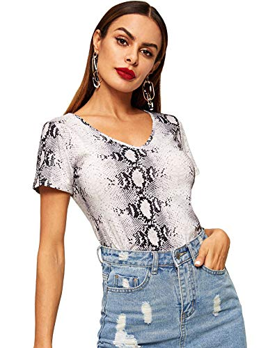 WDIRARA Women's Casual V Neck Short Sleeve Snake Skin Crop Top T-Shirt Multicolor ()