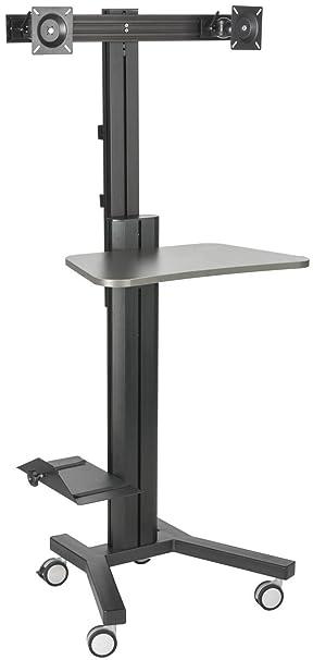 Displays2go lotz estación de trabajo, Dual monitor pantalla plana, con ruedas con soporte de CPU (lpgpcrtb2h): Amazon.es: Informática
