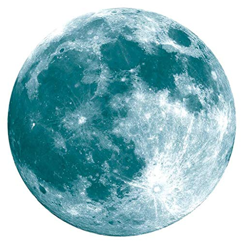 (Newkelly Dark Sticker 20cm 3D Large Moon Fluorescent Wall Sticker Removable Glow In The )