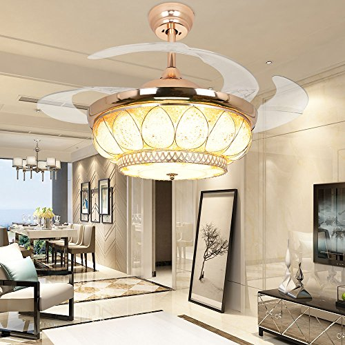 RS Lighting European Luxury Drop Ceiling Fan 42 inch with Chandelier for Restaurant Living Bedroom Remote Control Fan Lights by RS Lighting (Image #7)