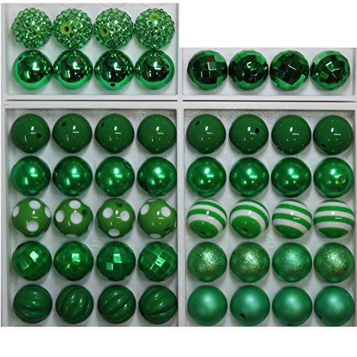 Mix Emerald (20mm Bulk Mix of 52 Emerald, Christmas Green Chunky Bubblegum Beads 11 Styles Acrylic Gumball Loose Beads Lot)