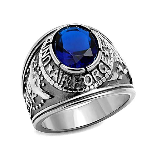 Eternal Sparkles Men's Stainless Steel High-Polished United States Air Force Synthetic Sapphire Ring - Size 9