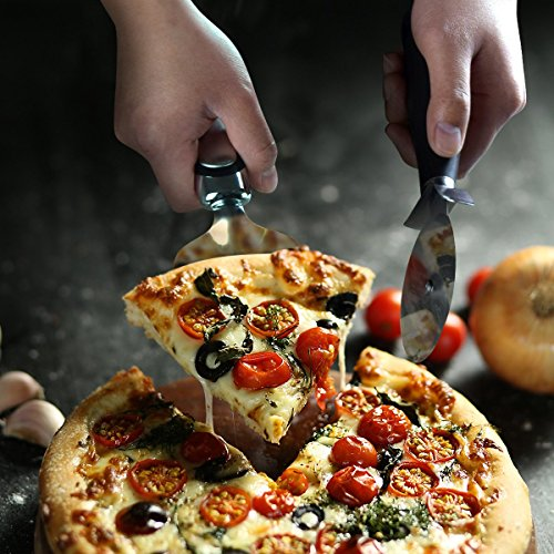 CNSTAR Premium Professional Pizza Cutter Wheel Pizza Shovel Tools, Sharp Pizza Slicer with Thumb Protection Stainless Steel Pizza Cutter and Pizza Shovel