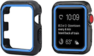 top4cus 44mm Iwatch Case Soft Flexible TPU Anti-Scratch Lightweight Protective Bumper Compatible with Apple Watch Series 6 Series SE Series 5 Series 4 Sport Style (44mm, Blue)