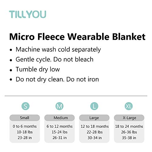 TILLYOU All Season Micro-Fleece Baby Sleep Bag and Sack with Inverted Zipper, Unisex Clothes for Toddlers Age 12-18 Months, Sleeveless Warm Soft Plush Wearable Blanket TOG 1, Large L, Gray Elephant
