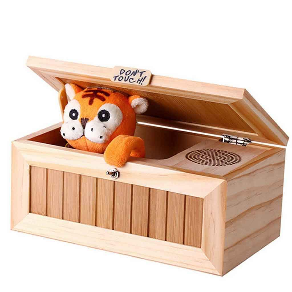 Wood Useless Box Toy, Aimik Wooden Useless Box Leave Me Alone Box Most Useless Machine Don't Touch Tiger Toy Gift with Sound, Fun- Cute Tiger&Surprises Most (Yellow) by Aimik