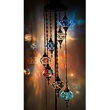 Chandelier, Floor Chandelier, Ceiling Lights, Turkish Lamps, Hanging Mosaic Lights, Pendant, Color Glass, Moroccan Lantern, 7 Lamps on Chandelier