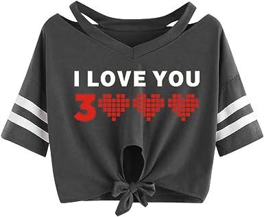 OPAKY Mujeres I Love You 3000 Veces una Camiseta Corta de ...