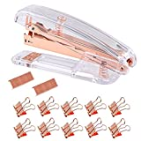 Unime Rose Gold Stapler Acrylic Desktop Stapler with 1000 PCS Rose Gold Staples and 10 Pieces Blinder Clips for Office School Home Accessory