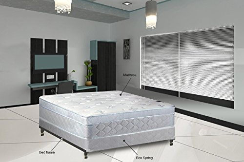 """Continental Sleep, 11"""" Medium plush Foam Encased Eurotop Pillowtop Innerspring Mattress And Wood Traditional Box Spring/Foundation Set With Frame, Good For The Back, Assemblyed, Queen Size 79"""" x 59"""""""