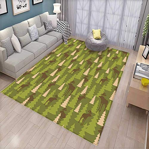 Deer Room Home Bedroom Carpet Floor Mat Animals in The Forrest Mooses and Pine Trees Pattern Canada Foliage Mammal Design Floor Mat Pattern Green Tan Brown ()
