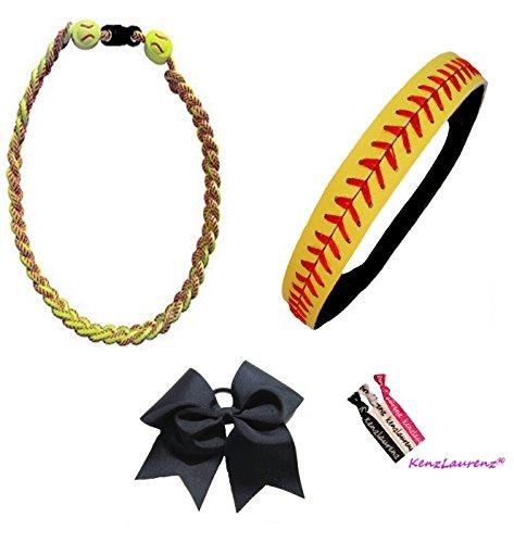 l Headband Set - Leather Headbands Yellow Black Ponytail Holder Titanium Necklace Bow Hair Ties by (Softball Set Headband Bow Necklace) ()