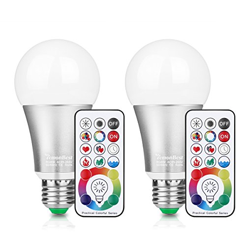Pack of 2 New 120 Colors RGB LED Magic Light Globe Bulbs, RGB White lighting Mood light for Holiday Christmas NEW YEAR Decorate Lighting Floodlight Halloween strobe flashing -