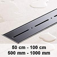 CLP Caniveau pour écoulement de Douche PRIWALL en Acier Inoxydable, Siphon Douche Inclus, 9 Tailles au Choix Acier Inoxydable (Noir), 900mm / 90 cm