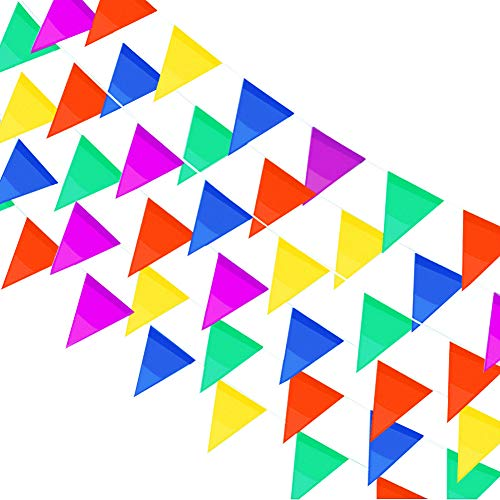 Price comparison product image Trooer 524 Ft Pennant Flags Banners 300 Pcs Multicolor Pennant String Flags Colorful Triangle Banner Party Festival Celebrations