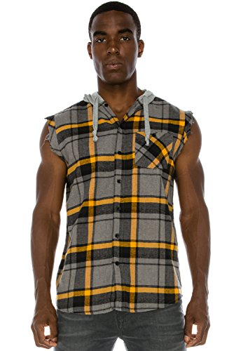 Hooded Fringe (Mens Hipster Hip Hop Plaid Sleeveless Muscle Flannel W/ Fringes GOLD Hoodie XL)