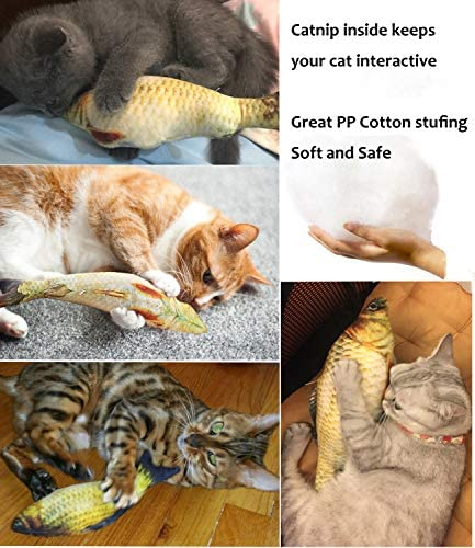 PETOY Cat Toys Set, Cat Retractable Teaser Wand, Catnip Fish, Interactive Cat Feather Toy, Mylar Crincle Balls, Two Cotton Mice, Two Fluffy Mouse 4