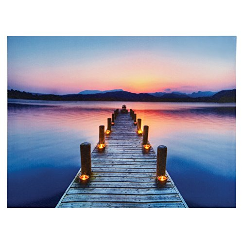 Lighted Pier Canvas Wall Blue