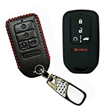 Coolbestda 1x Leather 1x Rubber Key Fob Cover Case Remote Keyless Jacket Protector for A2C81642600 2015 2016 2017 Honda Civic Accord Pilot CR-V 5 Buttons Smart Key Black