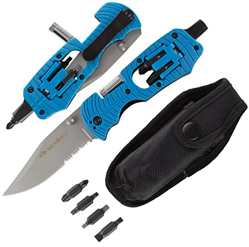 Wealers Multifunction Tactical Folding Survival Pocket Knife Functions As A Camping Knife Philips Screwdriver, LED Torch Flash Light, Hex Nut Driver, Strait Slot Driver, And 6 Point Star Driver (Blue)
