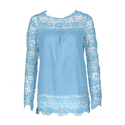 Transer ? Chemisier Femme,Mode manches longues Femmes Shirt Dentelle Blouse ample coton Casual Tops T-shirt -9 couleurs(S-XXXXXL) Bleu clair