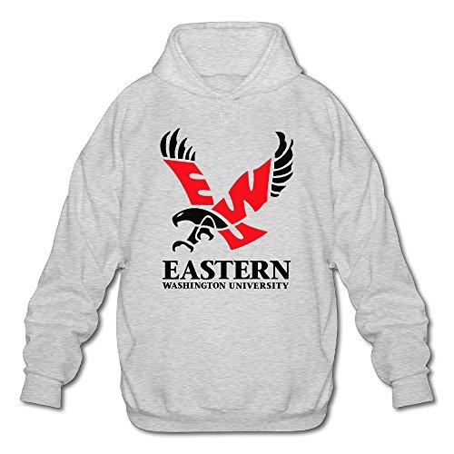 PHOEB Mens Sportswear Drawstring Hoodies Outwear Jacket,Eastern Washington University Ash Large