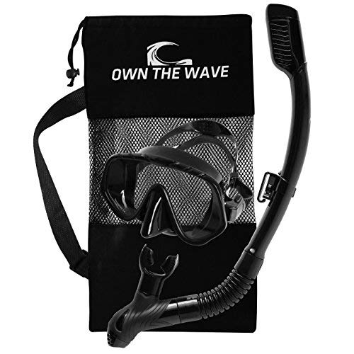(Own The Wave Snorkeling Gear - Impact Resistant GLASS AntiLEAK silicone skirt adjustable strap DIVING MASK PURGE VALVE dry top SNORKELING TUBE SWIMMING, SNORKELING - Mask and Snorkel tube pack (Black))