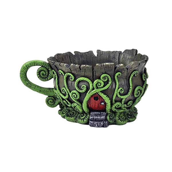 Georgetown Home And Garden Woodland Fiddleheads Fairy Garden Teacup Planter With Red Fairy Door