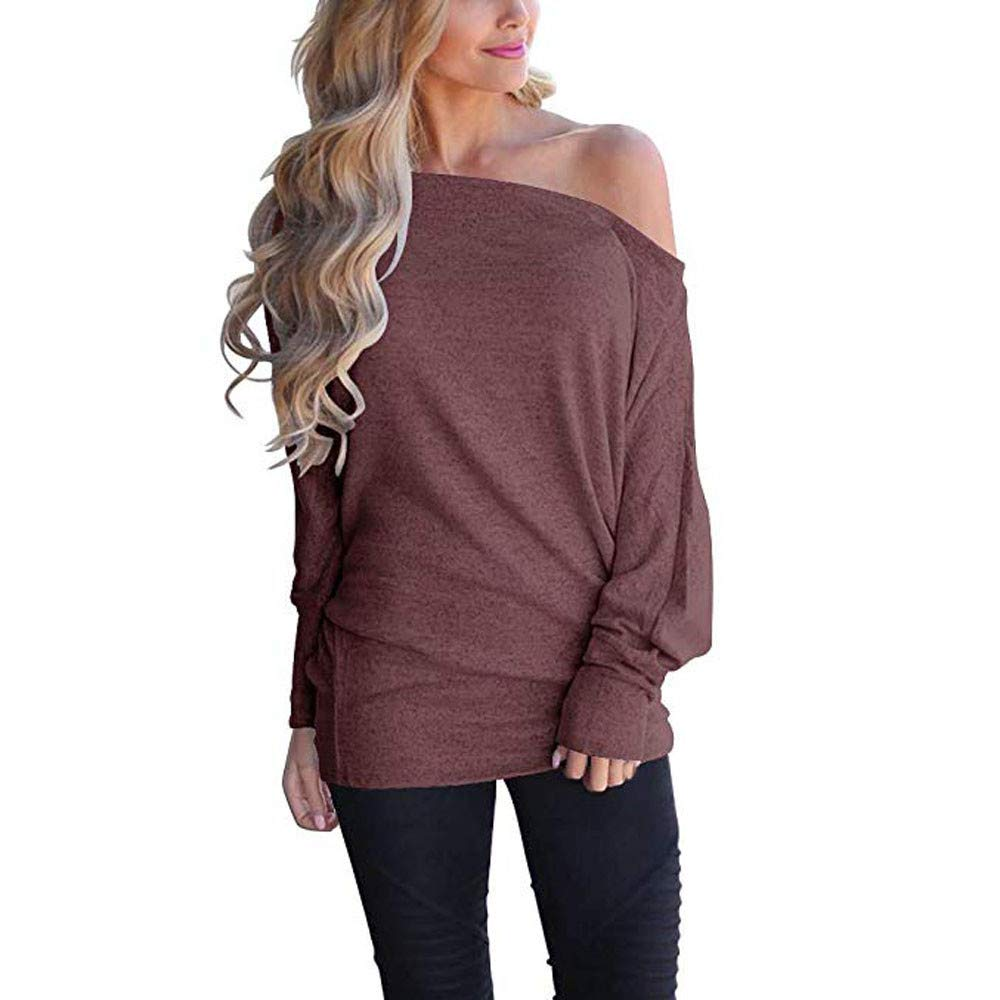 Tops for Women, Long Sleeve Knit Off Shoulder Batwing Sleeve Loose Blouse Tunic Top Pullover Tshirt