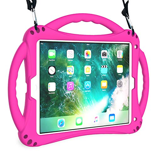 AVAWO New iPad 9.7 2018/2017 Case - Shockproof Silicone Handle Stand Kids Case with Shoulder Strap for Apple New iPad 9.7 inch 5th / 6th Previous Generation and iPad Air - Rose