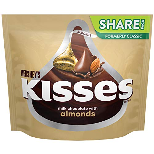 HERSHEY'S KISSES Chocolate Candy with Almonds, 10 oz Bag ()
