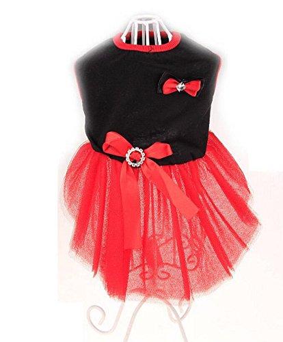 Znyo Ropa para Mascotas Modelos de Primavera y Verano para Gatos Falda de Pet Tutu - Negro y Rojo L