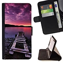 For Apple (5.5 inches!!!) iPhone 6+ Plus / 6S+ Plus,S-type Nature Pink Dock Sea - Drawing PU Leather Wallet Style Pouch Protective Skin Case