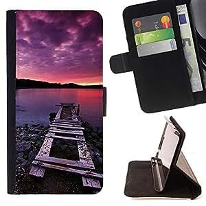 For LG G3 - Nature Pink Dock Sea /Funda de piel cubierta de la carpeta Foilo con cierre magn???¡¯????tico/ - Super Marley Shop -