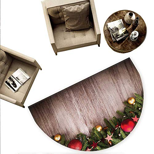 """Christmas Half Round Door mats Xmas Ornaments Over Wooden Rustic Board Backdrop with Stars Goodwill Print Bathroom Mat H 59"""" xD 88.6"""" Brown Green Red"""