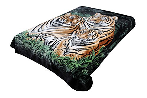 Solaron Original Bengal Tigers Thick Mink Plush Korean Style Super Soft Queen Size Blanket - Green (Mexican Blanket Animal)