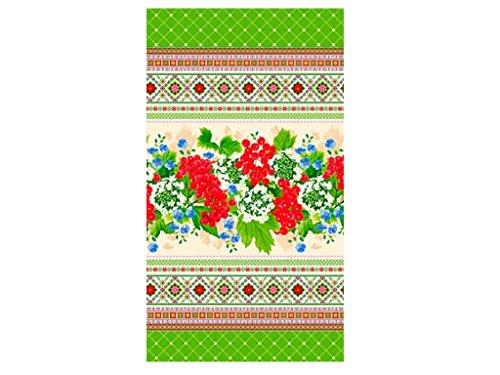 SAV Embroidered Ukrainian Print Kitchen Dish Towels Set Vintage Design Decor Easter Pack Super Absorbent 100% Natural Cotton Waffle Wave (Size: 29 x 14 inches) (6, Green Kalyna) by SAV
