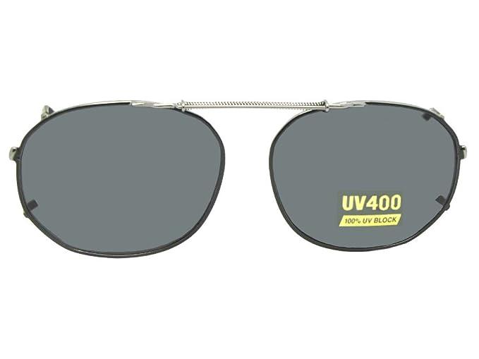 8a74ae5008 Round Square NON Polarized Clip On Sunglasses (Black-NON Polarized Gray  Lens
