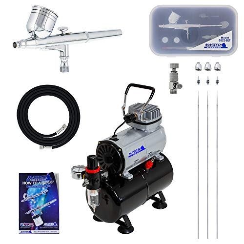 Gravity Feed Multi-Purpose Airbrushing System Kit with a Pro Set G222 Master Airbrush with 3 Nozzle Sets (0.2, 0.3 & 0.5mm Needles, Fluid Tips and Air Caps) - Powerful Compressor with Air Storage Tank