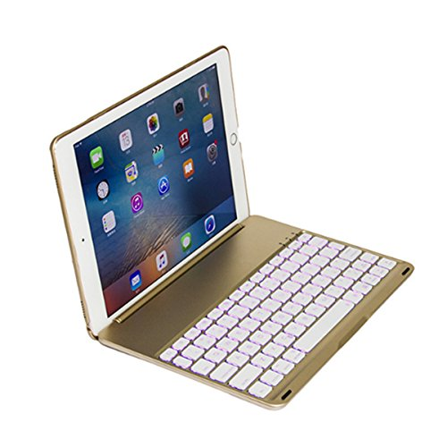 SODIAL Golden Flip For iPad 9.7 inch backlit aluminum alloy Bluetooth keyboard by SODIAL (Image #5)