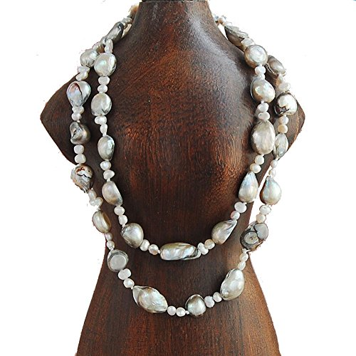 Flat Gray Freshwater Pearl (9-10mm Baroque & 4-5mm Nugget Cultured Freshwater Pearl Necklace 25
